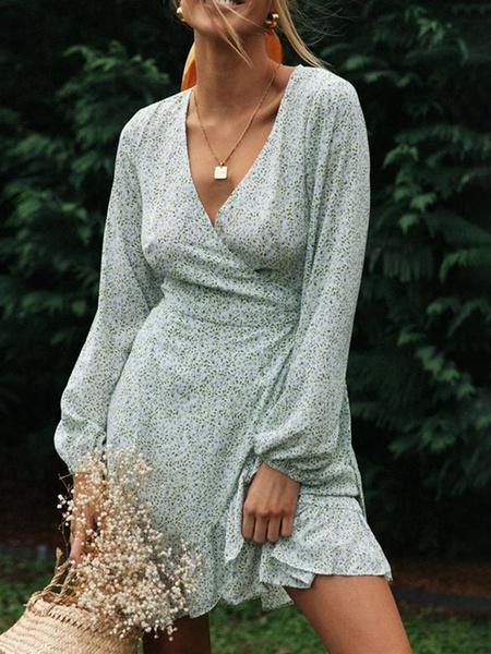 Milanoo Vestido de te estampado floral con cuello en V y mangas largas con cuello en V para mujer