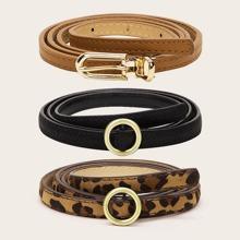 Cinturon con hebilla con patron de leopardo 3 piezas