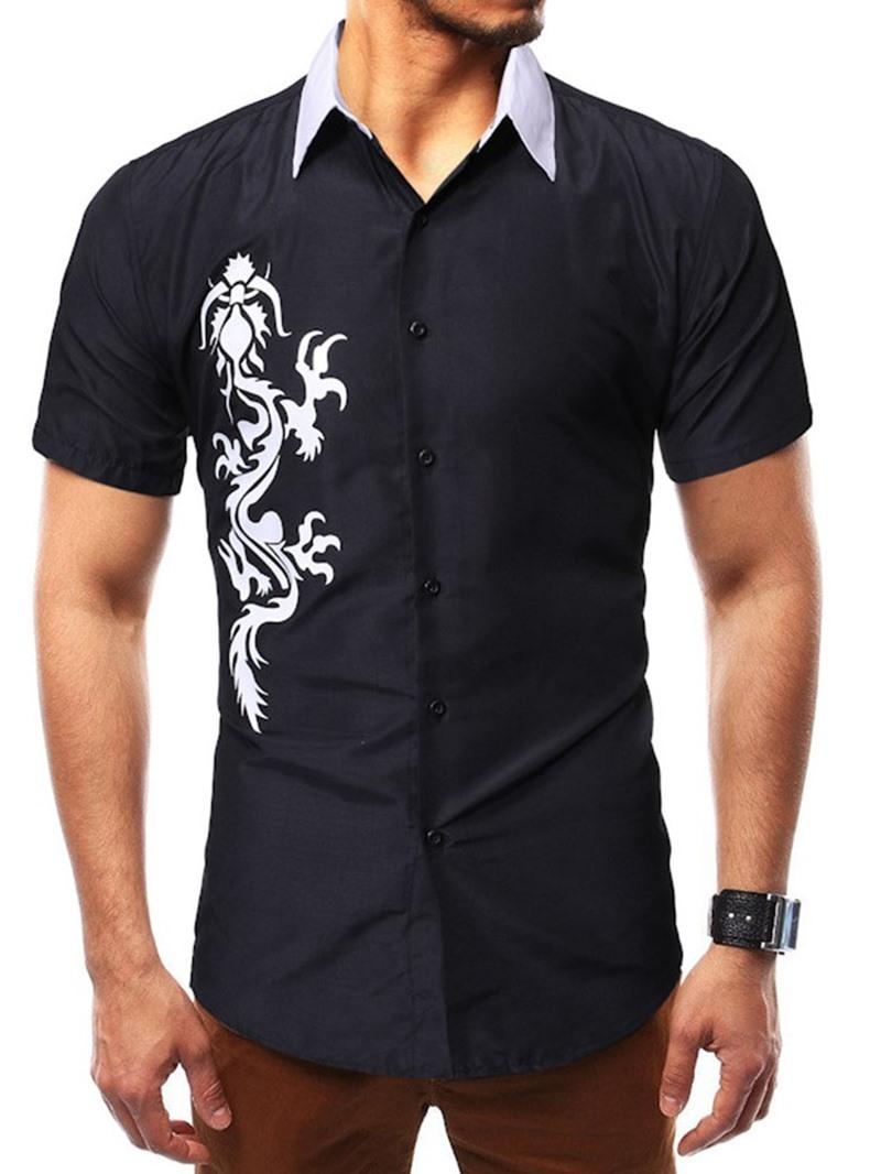 Ericdress Animal Casual Print Slim Mens Single-Breasted Shirt