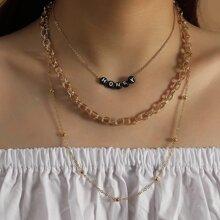 3 Stuecke Halskette mit Buchstaben Dekor