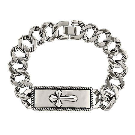 Mens Stainless Steel Cross Chain Bracelet, One Size , No Color Family