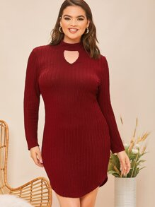 Plus Keyhole Neck Solid Fitted Dress