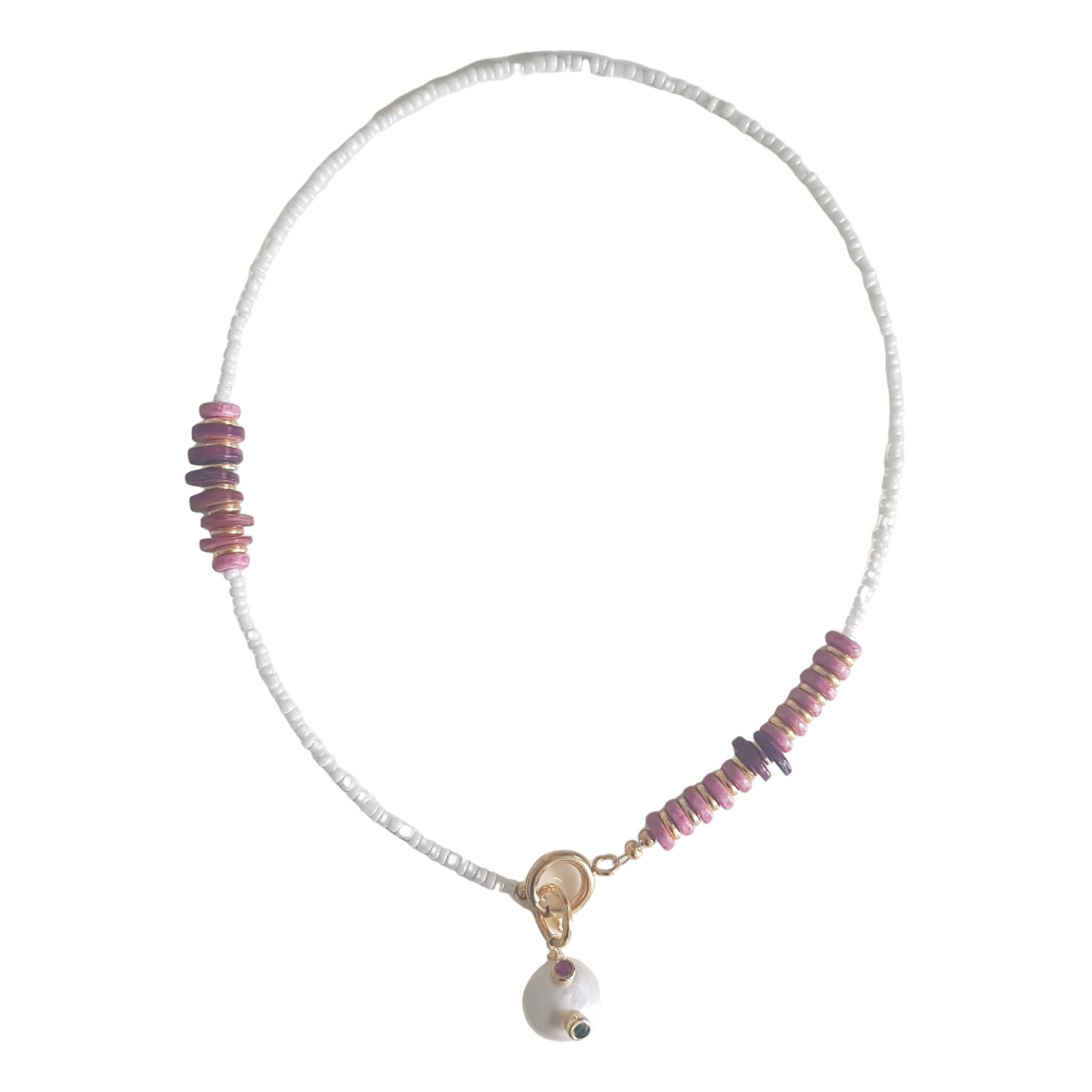Non Signé / Unsigned \N Purple Pearls necklace for Women \N