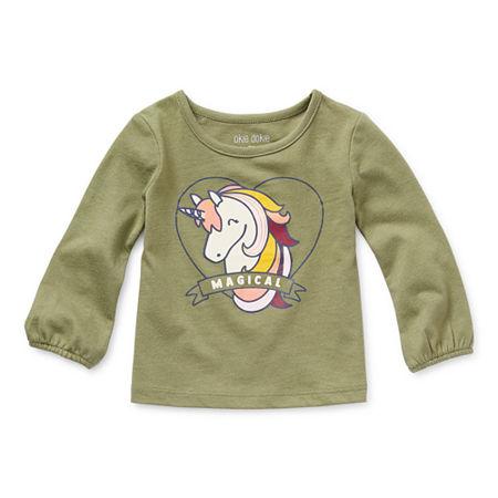Okie Dokie Baby Girls Round Neck Long Sleeve Graphic T-Shirt, 3 Months , Green