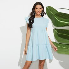 Solid Butterfly Sleeve Babydoll Dress