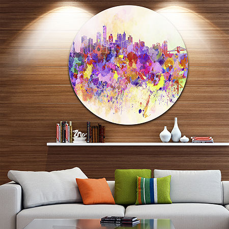Design Art Purple New York Skyline Disc CityscapeCircle Metal Wall Art, One Size , Purple