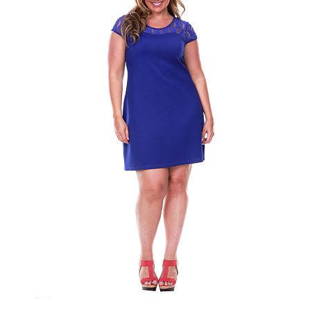 White Mark-Plus Short Sleeve Sheath Dress, 3x , Blue