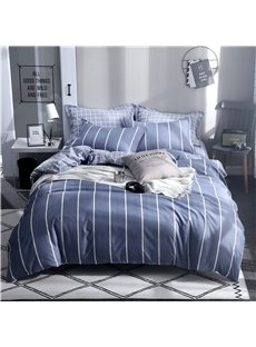 Blue With White Stripes Printed Aloe Cotton 4-Piece Bedding Sets/Duvet Covers