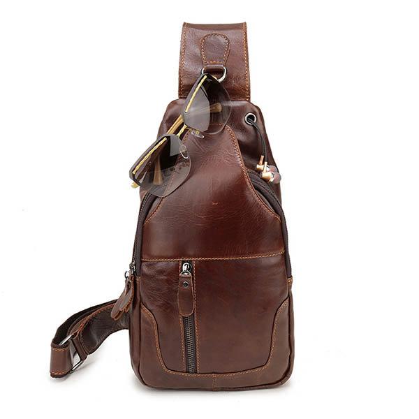 Ekphero Men Vintage Genuine Leather Chest Bag Crossbody Bag