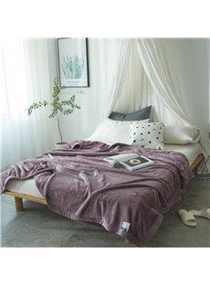 Solid Dark Purple Super Soft Coral Fleece Bed Blankets
