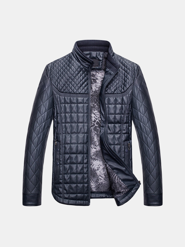 Casual Thicken Fleece Stand Collar Thicken Warm PU Leather Jackets for Men