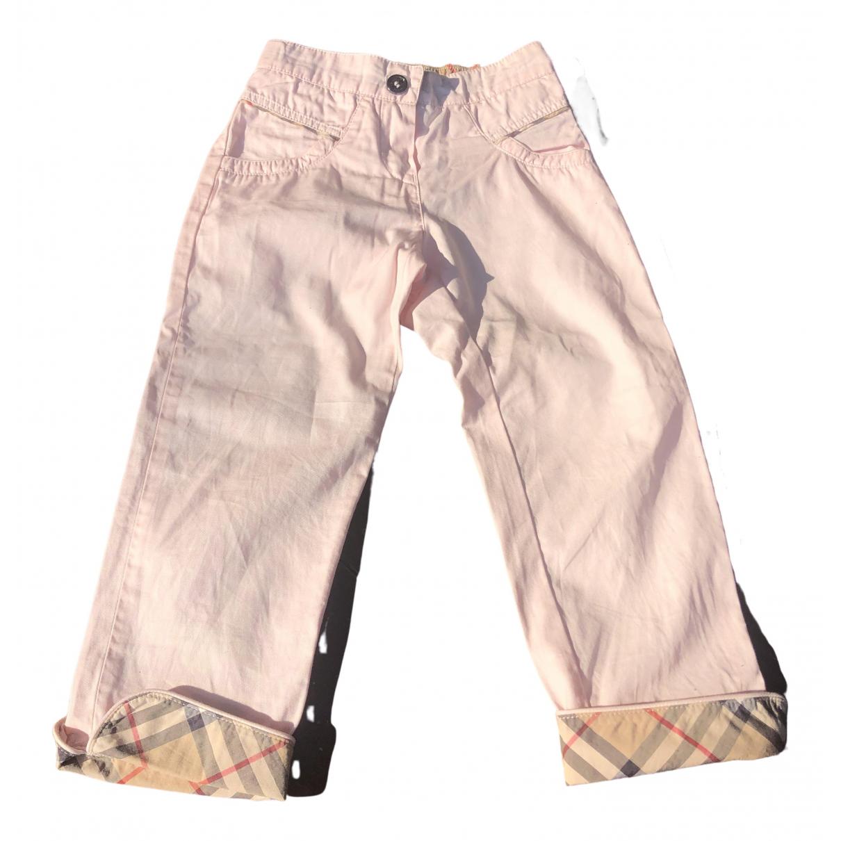Pantalones en Algodon Rosa Burberry