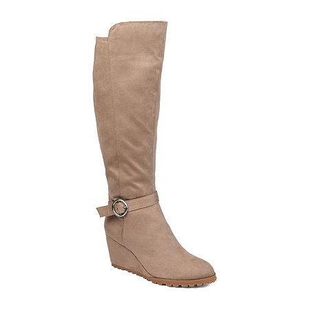 Journee Collection Womens Veronica Dress Wedge Heel Zip Boots, 10 Medium, Beige