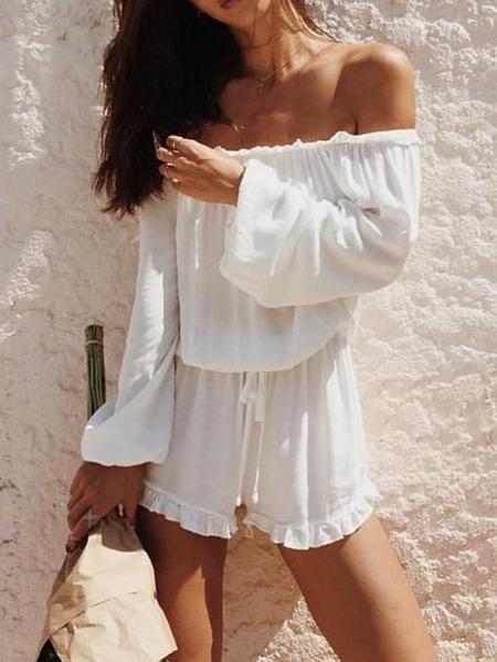 Yoins White Off Shoulder Long Sleeves Drawstring Waist Playsuit