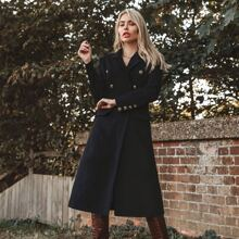 Notched Collar Double Breasted Flap Detail Coat