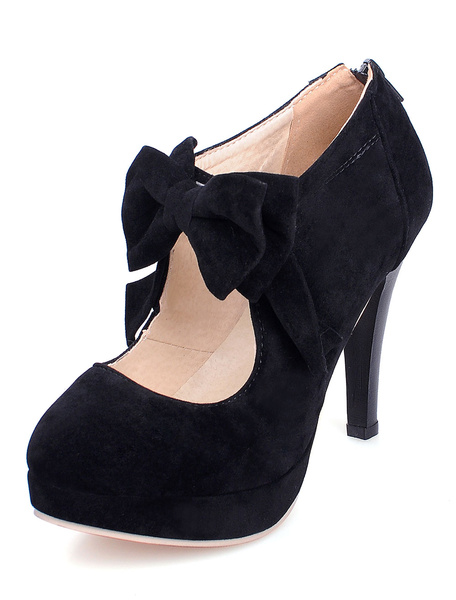 Milanoo Black High Heels Suede Platform Round Toe Bow-Adorned Mary Jane Shoes