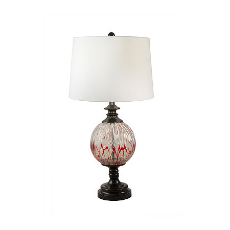 Dale Tiffany Thurston Hand Blown Art Glass Crystal Table Lamp, One Size , Red