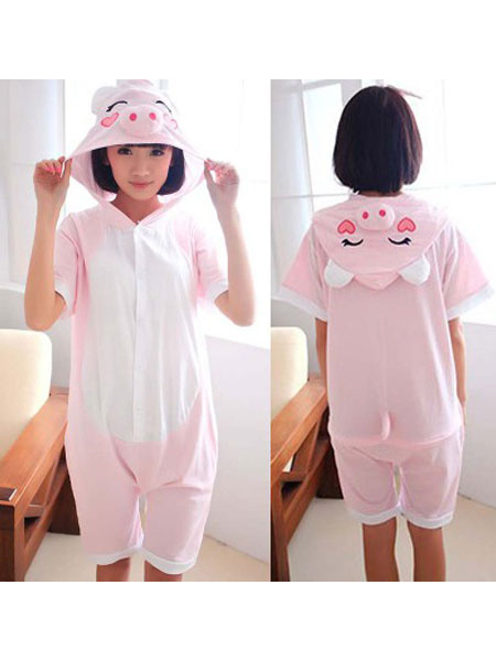 Milanoo Kigurumi Pajamas Pig Onesie Soft Pink Short Sleeve Summer Animal Sleepwear For Adults