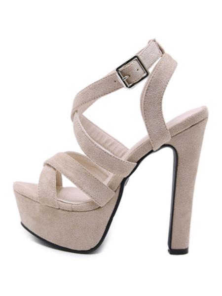 Milanoo Platform High Heel Sandals Womens Criss Cross Open Toe Slingback Chunky Heel Sandals