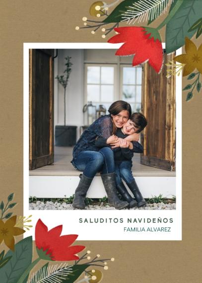 Tarjetas de Navidad 5x7 Cards, Premium Cardstock 120lb, Card & Stationery -Saluditos Navidenos