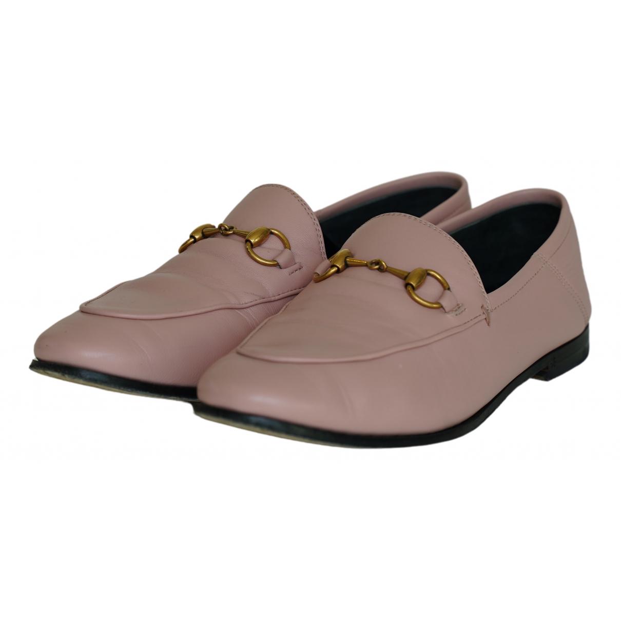 Gucci Jordaan Pink Leather Flats for Women 36.5 EU