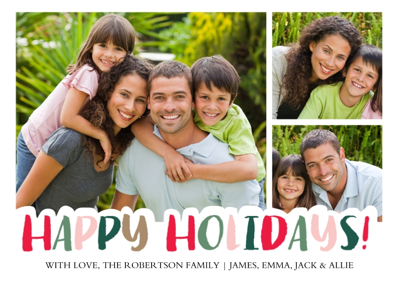 Holiday Photo Cards 5x7 Cards, Premium Cardstock 120lb with Rounded Corners, Card & Stationery -Holiday Festive Letters by Tumbalina