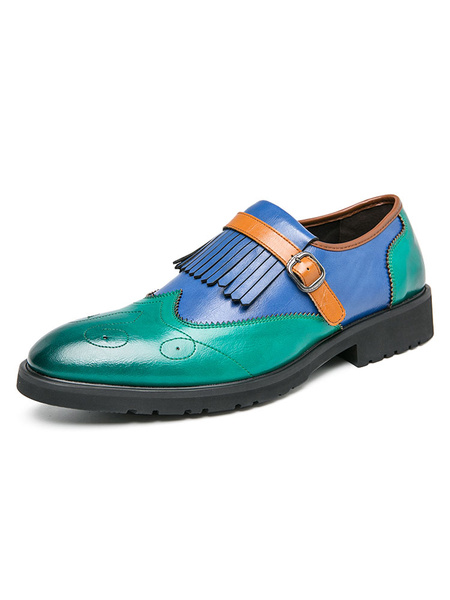 Milanoo Mens Loafer Shoes Slip-On Tassels Color Block Green Round Toe PU Leather Dress Shoes