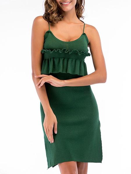 Milanoo Vestido de verano correas cuello vestido de playa verde