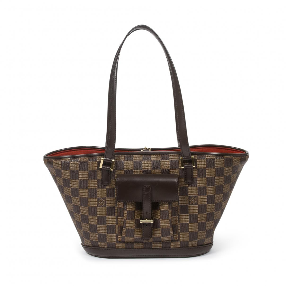Louis Vuitton - Sac a main Manosque pour femme en cuir - marron