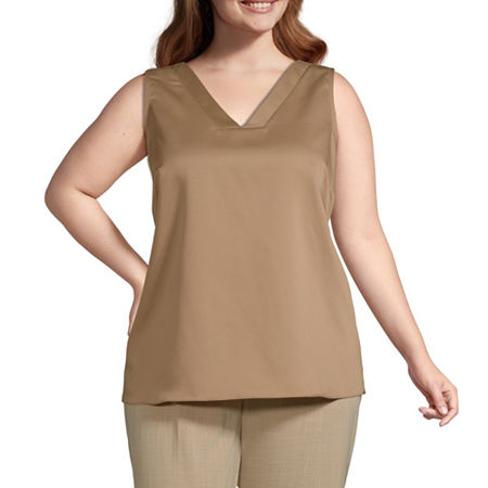 Worthington Womens V Neck Shell - Plus, 3x , Brown