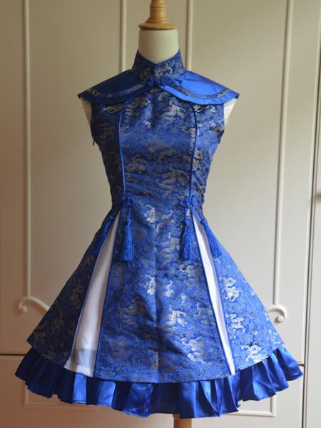 Milanoo Clasico Azul Qi Lolita Vestido Sin Mangas Encaje Estampado Satin
