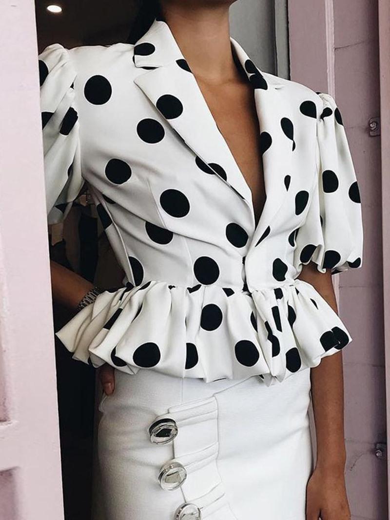 Ericdress Polka Dots Short Sleeve Short Women's Blouse
