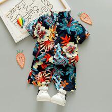 Toddler Boys Tropical & Floral Print Button Up Shirt & Shorts