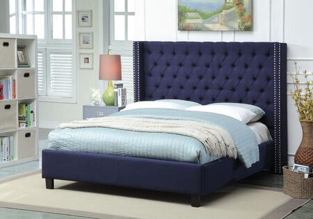 Ashton ASHTONNAVY-F Full Size Upholstered Bed with Deep Detailed Tufting  Chrome Nailheads and Wing Design in