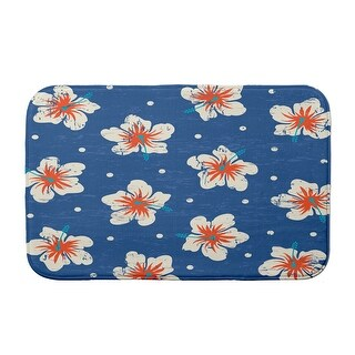 Surf, Sand, & Sea Hibiscus Blooms Bath Mat (Blue - 21 x 34)