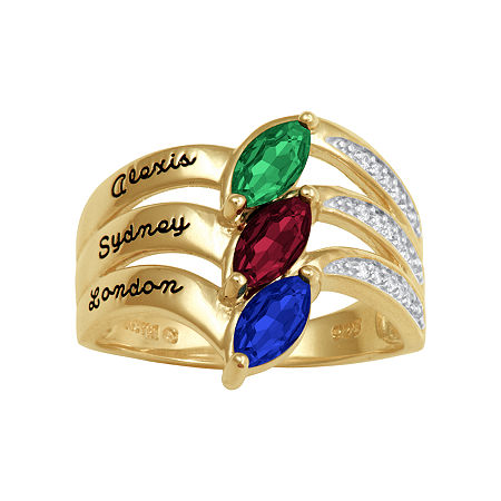 Artcarved Personalized 17.5MM Multi Color Stone 10K Gold Band, 11 1/2 , No Color Family