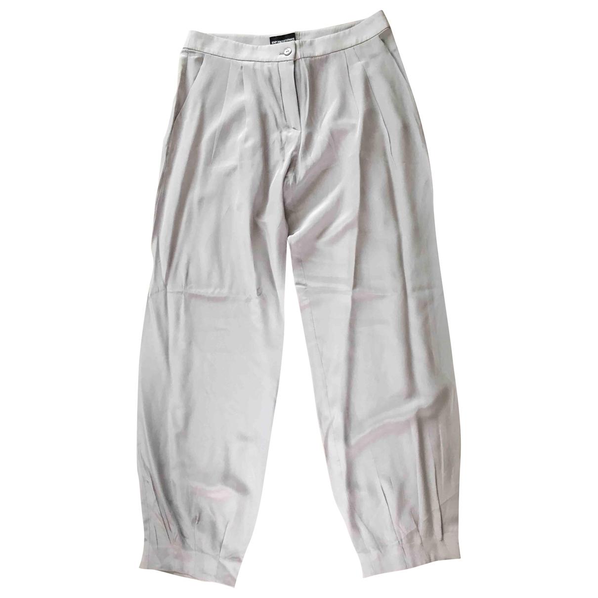Emporio Armani \N Beige Trousers for Women 42 IT
