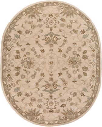 Caesar CAE-1152 8' x 10' Oval Traditional Rug in Khaki  Medium Grey  Light Grey  Camel  Sage  Dark