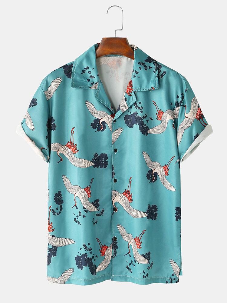 Mens Crane Printed Revere Collar Light Casual Short Sleeve Shirts