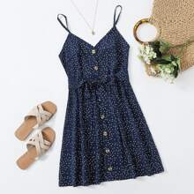 Polka Dot Button Front Belted Cami Dress