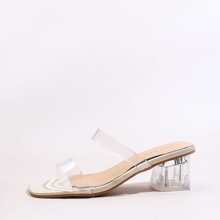 Clear Double Band Chunky Heeled Sandal Mules