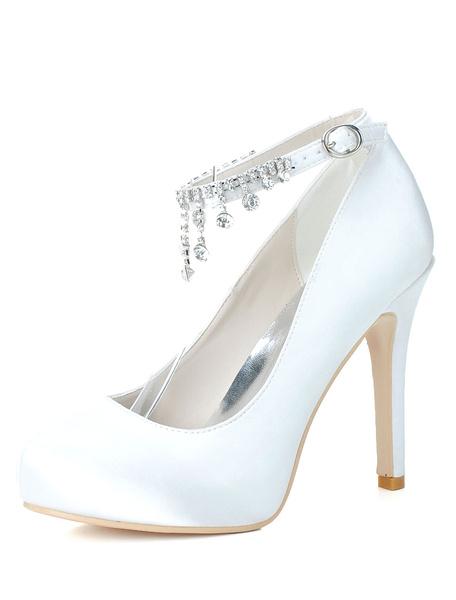 Milanoo Satin Round Toe Ankle Strap Rhinestones Evening and Bridal Platforms