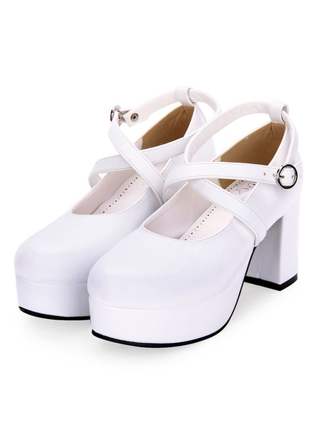 Milanoo Classic Lolita Pumps Strappy Chunky High Heel Lolita Shoes