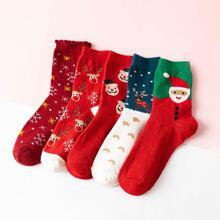 5 Paare Socken mit Weihnachten Muster