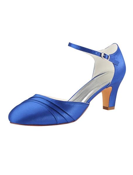 Milanoo Satin Wedding Shoes Royal Blue Round Toe Buckle Detail Vintage Bridal Shoes Mother Shoes