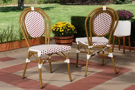 WA-4094-RED/WHITE-DC Baxton Studio Gauthier Classic French Indoor and Outdoor Red and White Bamboo Style Stackable Bistro Dining Chair Set of