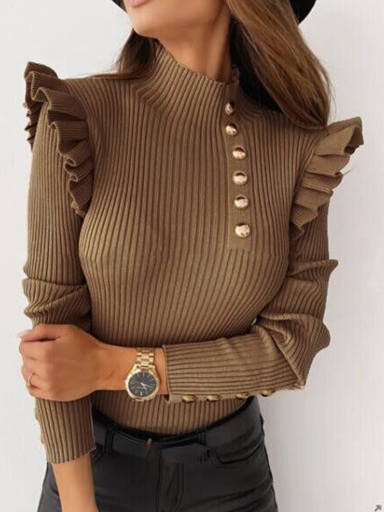 Solid Ruffled High Neck Button Slim Ribbed Blouse
