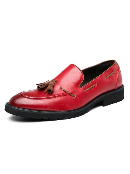 Milanoo Mocasines para hombre Zapatos bajos de cuero PU con punta redonda sin cordones rojos