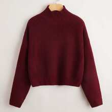 High Neck Drop Shoulder Chunky Knit Sweater