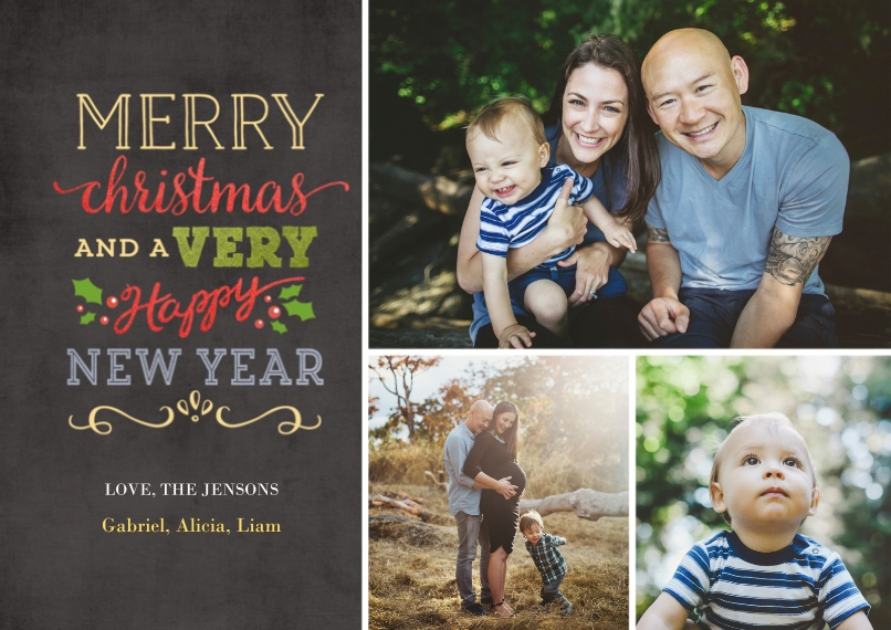 Christmas Photo Cards 5x7 Cards, Premium Cardstock 120lb, Card & Stationery -Festive Chalkboard
